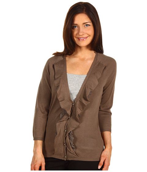 Bluze Anne Klein - 3/4 Sleeve Button Front Cardigan w/ Ruffles - Clay