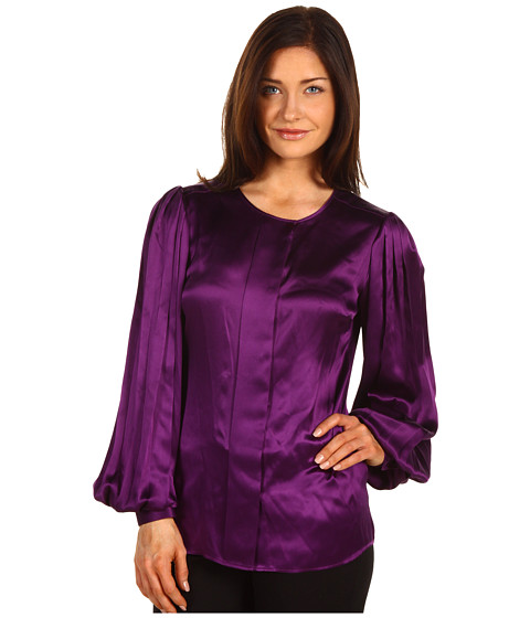 Bluze Anne Klein - Jewel Neck Pleated Sleeve Blouse - Plum