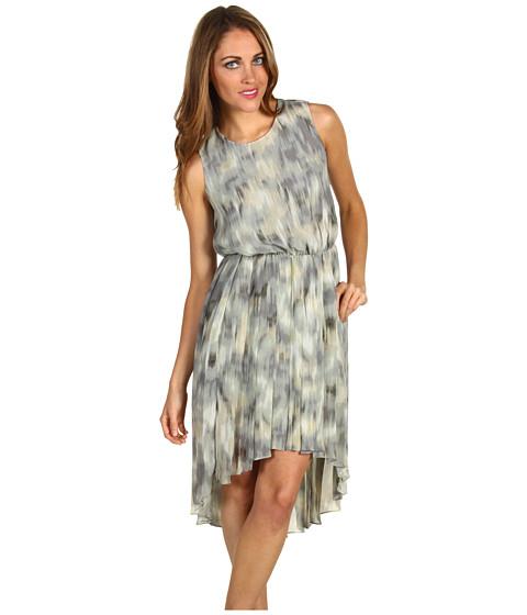 Rochii Kenneth Cole - Petite Printed Ikat Pleated Dress - Pebble Combo