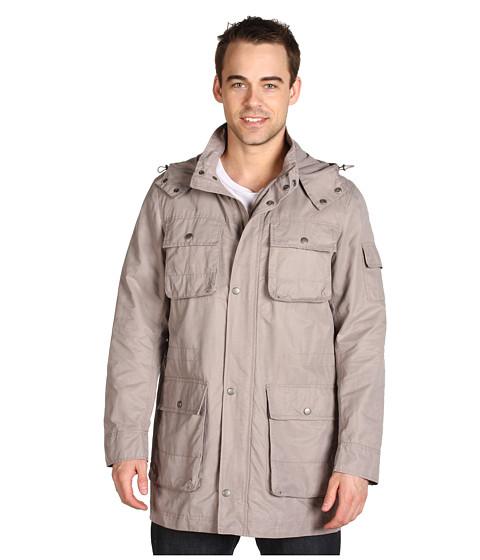 Jachete Cole Haan - Waxed Cotton Jacket w/ Zip-Off Hood - Cement