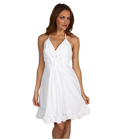 Rochii Vera Wang - Silk Bustier with Full Skirt Dress - White
