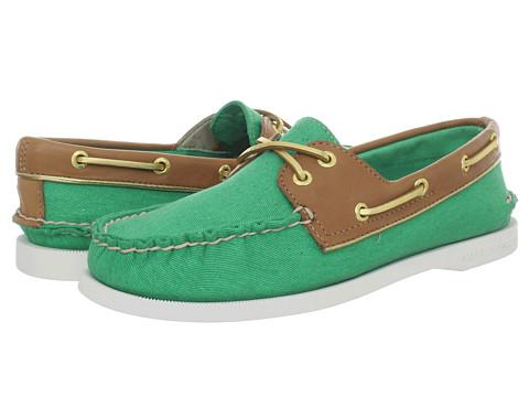 Pantofi Sperry Top-Sider - A/O 2 Eye - Green Salt Washed Canvas/Cognac