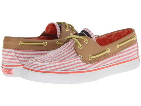 Pantofi Sperry Top-Sider - Bahama 2-Eye - Hot Coral Seersucker/Sand