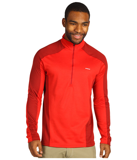 Pulovere Patagonia - Capilene® 3 Midweight Zip-Neck - Red Delicious w/Molten Lava