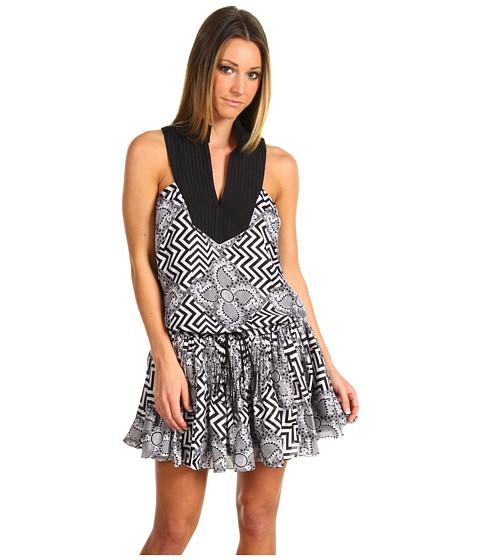 Rochii L.A.M.B. - Printed Chiffon Dress - Paisley/Zig Zag Silk Chiffon