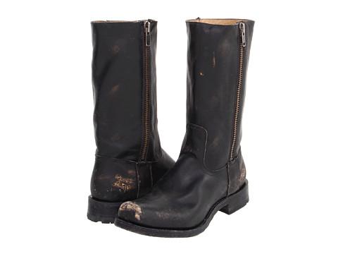 Ghete Frye - Heath Outside Zip - Black Stone Wash Leather