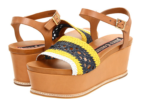 Sandale Juicy Couture - Mallory Too Flat Wedge - Yellow/Regal Navy/White Kid/Caramel Burnished Vachetta