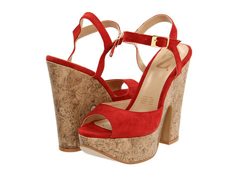 Pantofi Type Z - Kagee Cork Heel - Red