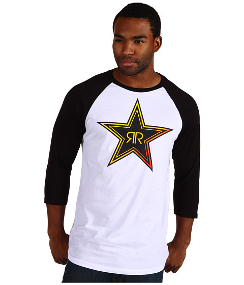 Bluze Fox - Rockstar Fade Raglan Tee - White/Black