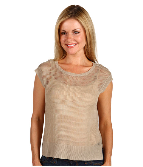 Bluze Kenneth Cole - Petite Short Sleeve Boatneck Boxy Sweater - Sand