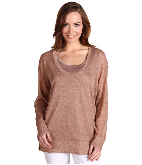 Tricouri Calvin Klein - L/S Shimmer Scoop Neck Sweater - Rose Gold