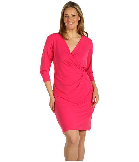 Rochii Calvin Klein - Plus Size 3/4 Sleeve V-Neck Dress - Azalea