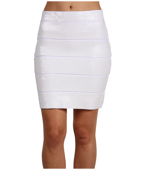 Fuste BCBGMAXAZRIA - Simone Sequin Power Skirt - White Combo