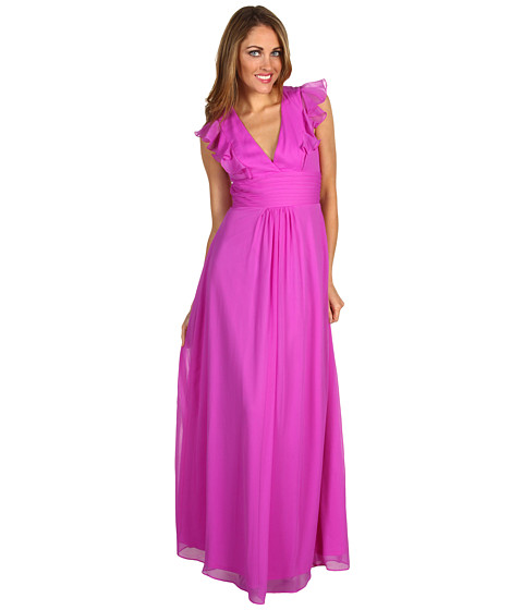Rochii Jessica Simpson - Deep V-Neck Ruffle Gown - Berry
