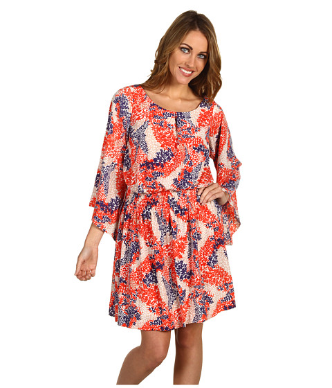 Rochii Jessica Simpson - Floral Print Kimono Sleeve Dress - Red