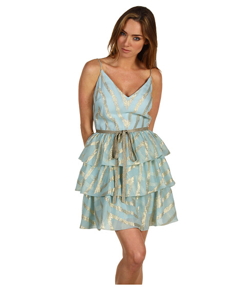 Rochii Badgley Mischka - Mark & James Mitered Tiered Dress - Blue