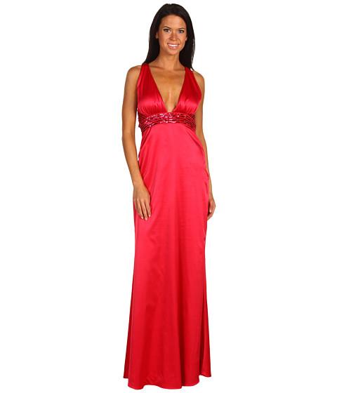 Rochii Jessica Simpson - Solid V-Neck Beaded Halter Dress - Barbry Red