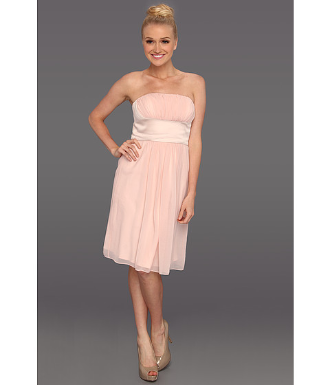 Rochii Donna Morgan - Satin & Chiffon Strapless Dress - Ballet Slippers/Pearl
