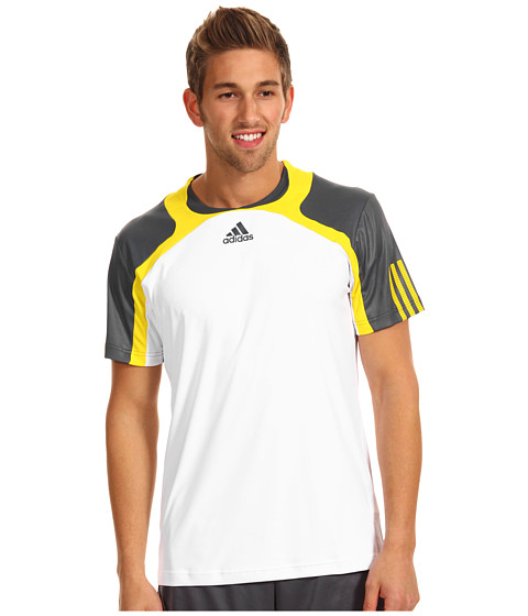 Tricouri adidas - adipowerâ⢠barricade Crew Tee - White/Dark Onix/Vivid Yellow