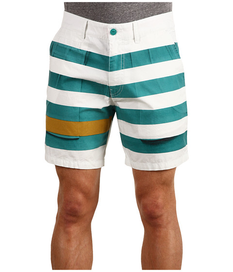 Pantaloni Diesel - Polarish-P Cotton Printed Twill Short - Green Striped