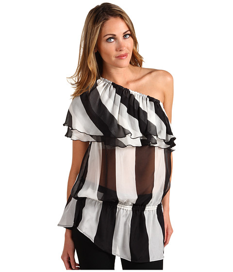 Tricouri L.A.M.B. - Stripe One Shoulder Blouse - Ivory/Black