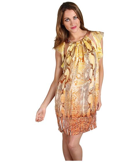 Rochii Just Cavalli - Fringed Python Print Flutter Dress - Yellow