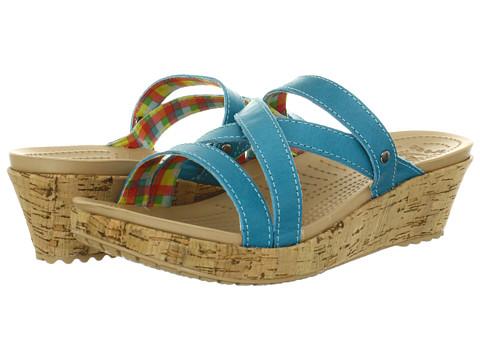 Sandale Crocs - A-Leigh Mini Wedge Leather - Surf/Surf