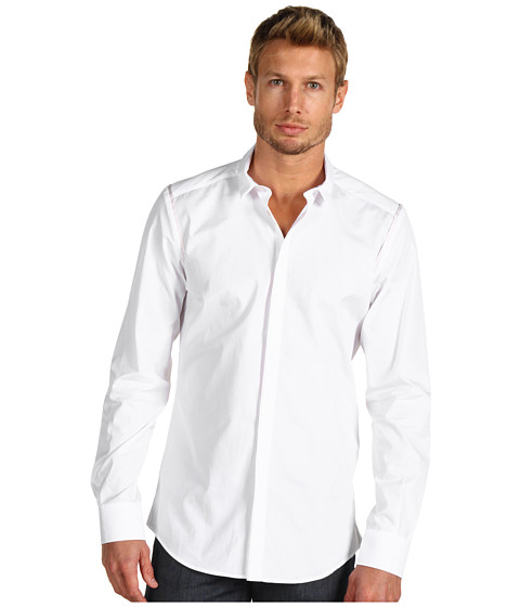 Bluze Costume National - Slim Collar Long Sleeve Button Down - White