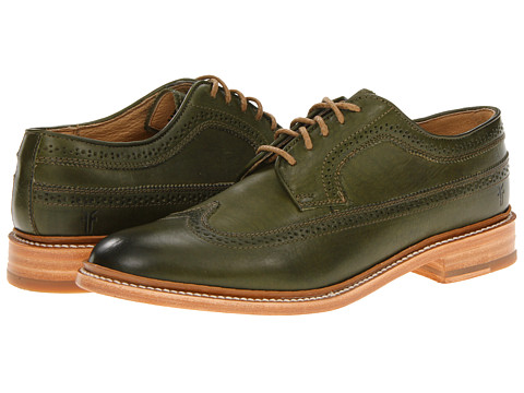Pantofi Frye - James Wingtip - Olive Smooth Full Grain