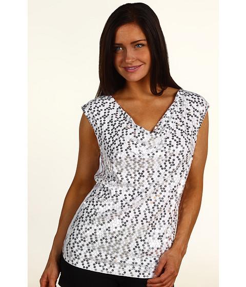 Tricouri Michael Kors - Cap Sleeve Sequin Drape Top - White
