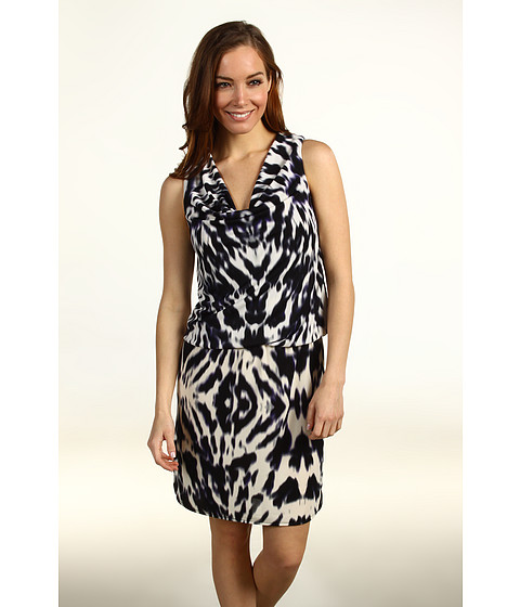 Rochii Kenneth Cole - Abstract Zebra Printed Tank Dress - Black Combo