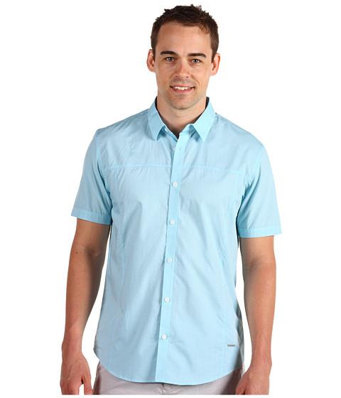 Tricouri Calvin Klein - S/S Mini Check Voile Shirt - Glass Blue