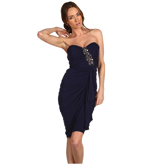 Rochii Badgley Mischka - Shirred Dress W/Bead - Navy