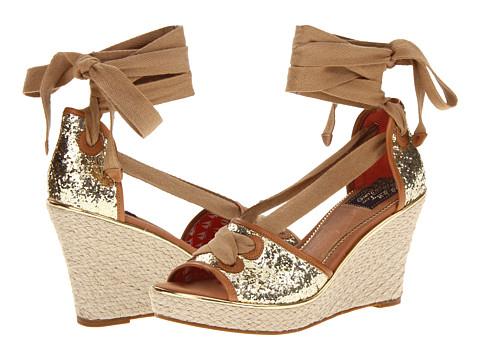 Pantofi Sperry Top-Sider - Palm Beach - Gold Glitter/Cognac