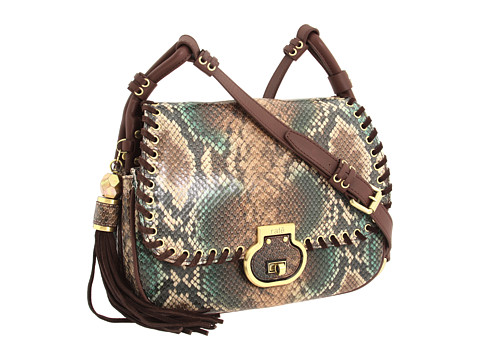 Genti de mana Rafe New York - Denise Painted Python Flap Shoulder - Brown