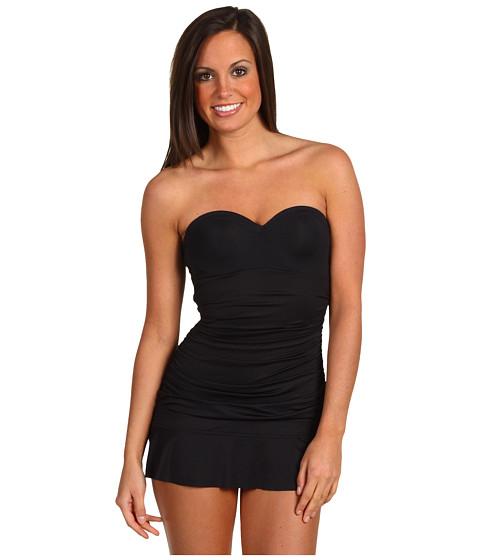 Special Vara Calvin Klein - Solids Shirred Swim Dress - Black