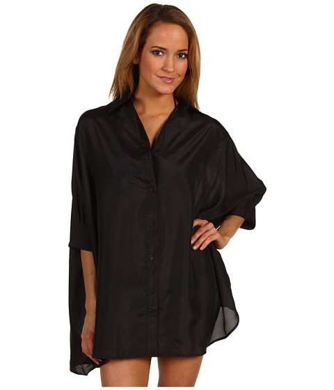Rochii Michael Kors - South Hampton Solids Button Front Cover Up - Black