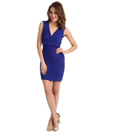 Rochii BCBGMAXAZRIA - Edesa V-Neck Shirred Cocktail Dress - Bright Larkspur Blue