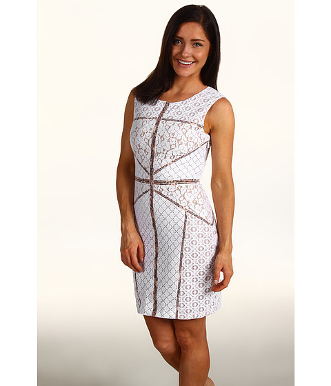 Rochii BCBGMAXAZRIA - Petite Andreea Blocked Lace Shift Dress - White