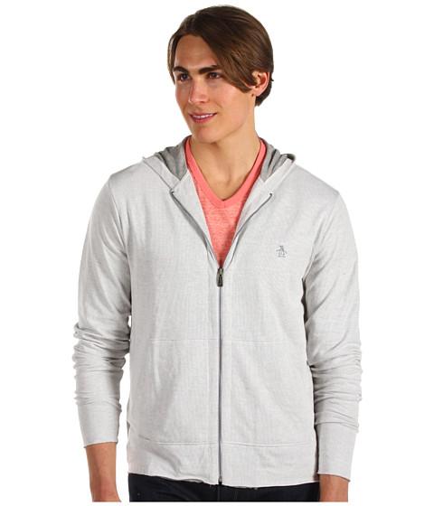 Bluze Original Penguin - Zip Hoodie w/ Rolled Hems - White Heather