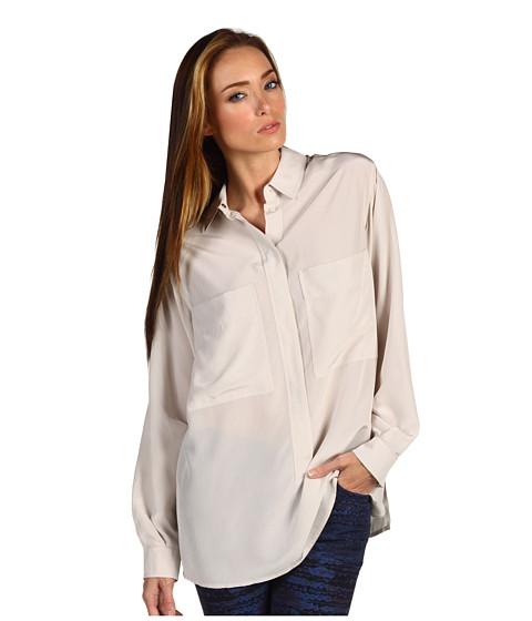 Bluze Chloe - Souble Pocket Collared L/S Shirt - Porcelain