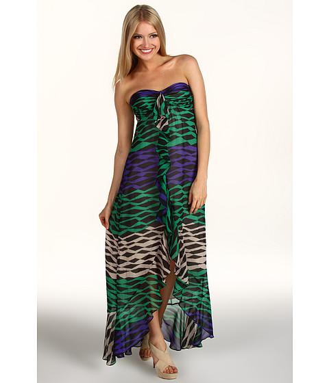 Rochii BCBGMAXAZRIA - Strapless Printed Hi-Low Hem Gown - Evergreen Combo