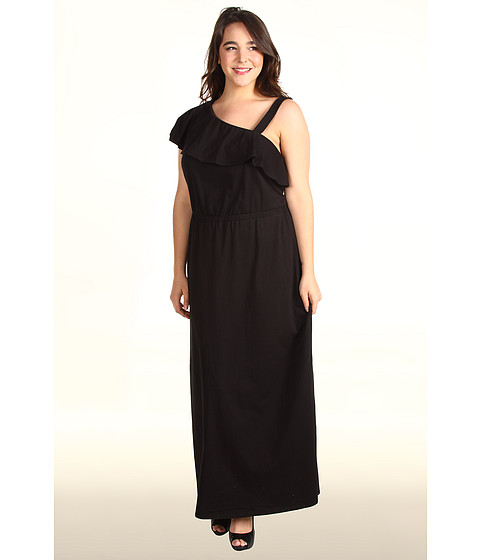 Rochii DKNY - Plus Size One Shoulder Ruffle Maxi Dress - Black