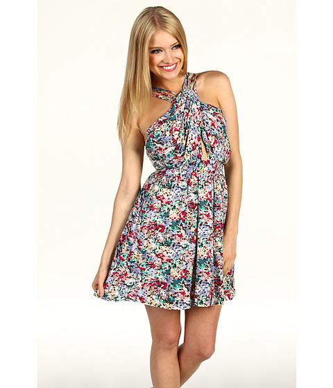 Rochii BCBGeneration - Floral Print Crisscross Dress - Blue Frost Multi