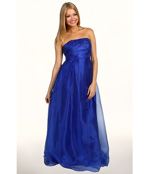 Rochii Jessica Simpson - Crisscross Bodice Strapless Gown - Victra Blue