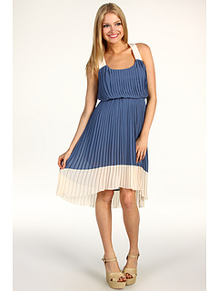 Rochii Jessica Simpson Pleated High-Low Colorblock Dress Blue | mycloset.ro