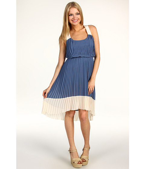 Rochii Jessica Simpson - Pleated High-Low Colorblock Dress - Blue