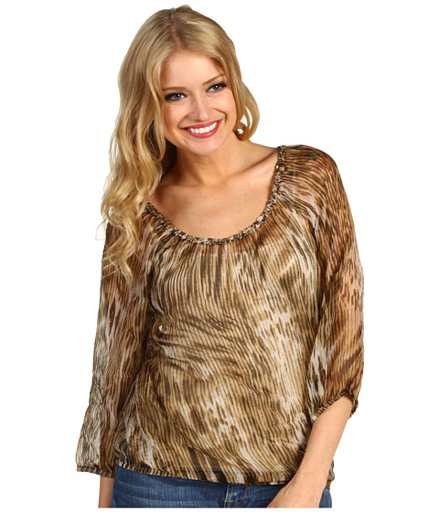 Bluze Lucky Brand - Estelle Animal Printed Top - Khaki Multi