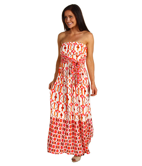 Rochii Donna Morgan - Printed Maxi Dress - Pink Coral