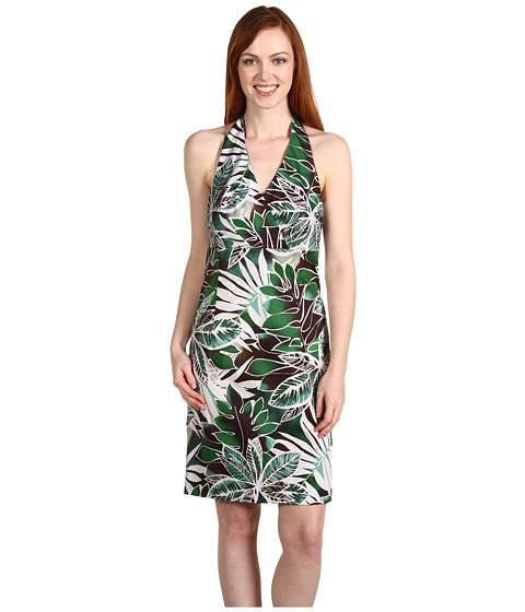 "Rochii Jones New York - Halter Dress 21\"" From Natural - Safari Green Combo"